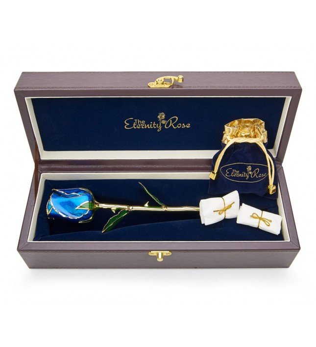 Blue Matched Set in Gold Leaf Theme. Tight Bud Rose, Pendant & Earrings