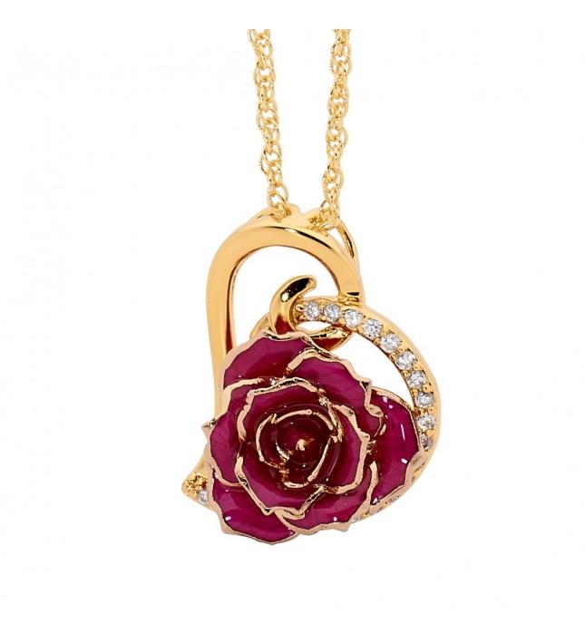 Purple Glazed Rose Heart Pendant 24K Gold