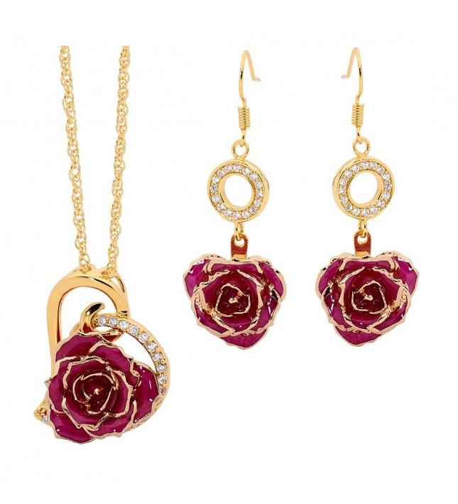 Purple Heart Theme Pendant and Earring Set