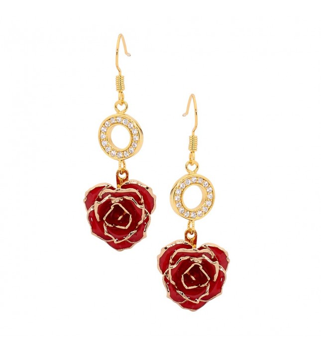 Red Glazed Rose Earrings in 24K Gold