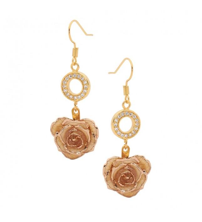 White Glazed Rose Earrings in 24K Gold