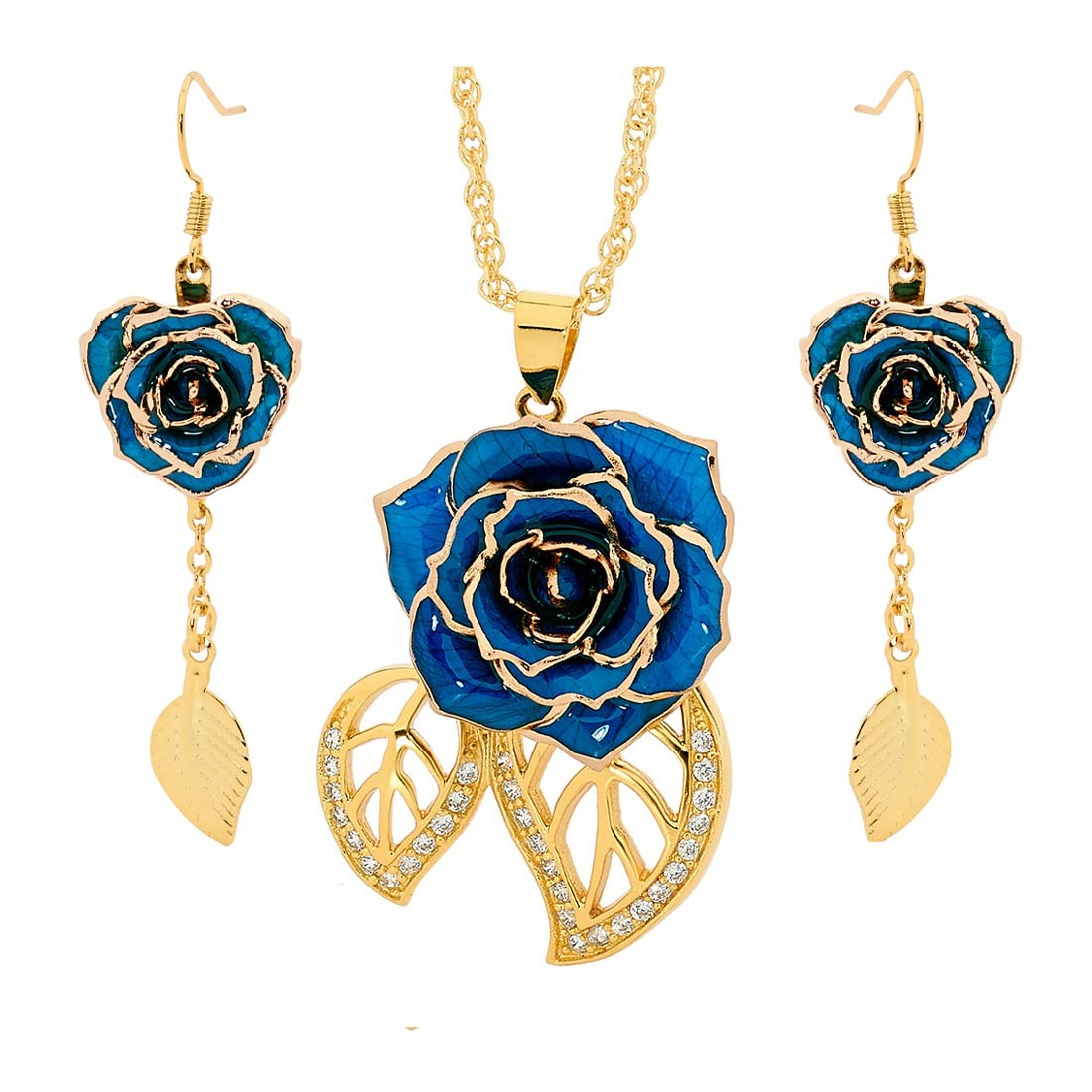 Blue Matching Pendant And Earring Set Leaf Theme 24k Gold