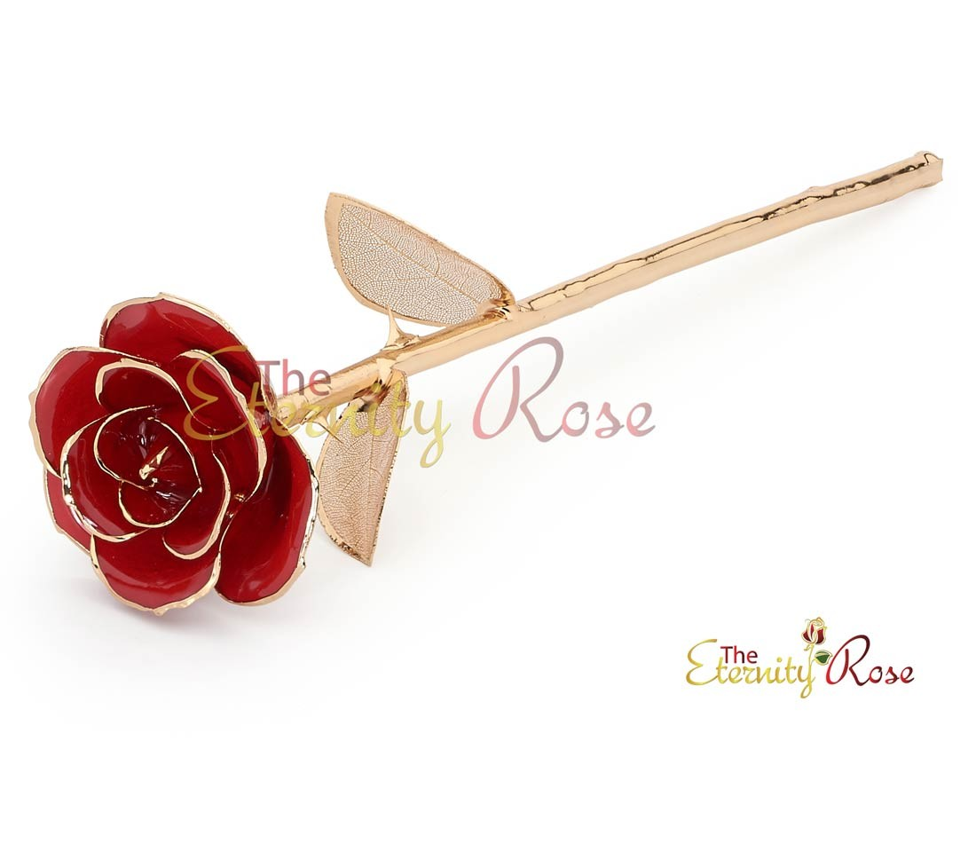 Red matched set in 24k gold leaf theme glazed rose pendant earrings mozeypictures Choice Image