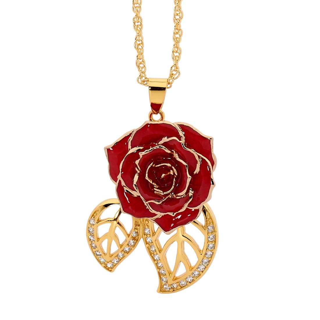 Red Glazed Rose Pendant In Leaf Theme 24k Gold
