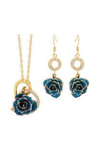 Blue Matching Pendant and Earring Set - Heart Theme 24K Gold