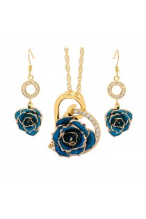 Gold-Dipped Rose & Blue Matched Jewellery Set in Heart Theme