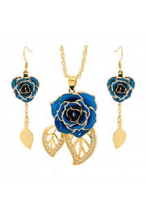 Blue Matching Pendant and Earring Set - Leaf Theme 24K Gold