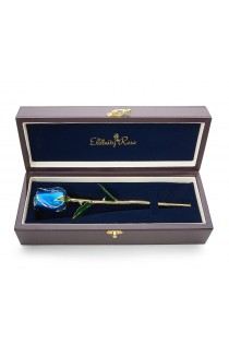 """Blue Tight Bud Glazed Rose Trimmed with 24K Gold 12"""""""
