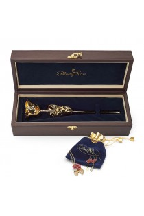 Gold-Dipped Rose & Pink Matched Jewellery Set in Leaf Theme