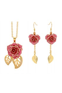 Pink Matching Pendant and Earring Set - Leaf Theme 24K Gold