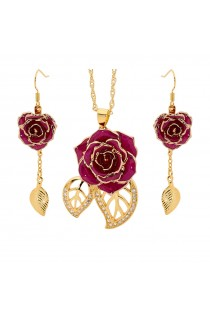 Purple Matching Pendant and Earring Set - Leaf Theme 24K Gold