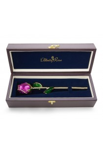 """Purple Tight Bud Glazed Rose Trimmed with 24K Gold 12"""""""