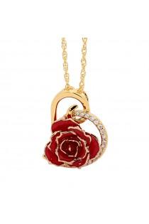 Red Glazed Rose Heart Pendant 24K Gold