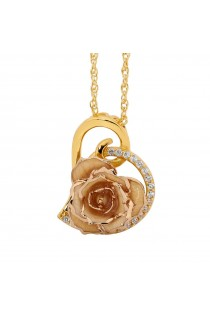 White Glazed Rose Heart Pendant 24K Gold