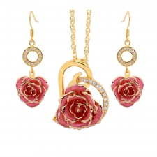 Gold-Dipped Rose & Pink Matched Jewellery Set in Heart Theme