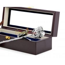 Platinum-Dipped Rose Leather Window Box