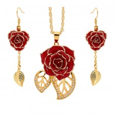 Gold Rose & Red Leaf Theme Jewellery Set