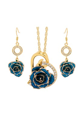 Blue Matched Set in 24k Gold Heart Theme. Rose, Pendant & Earrings