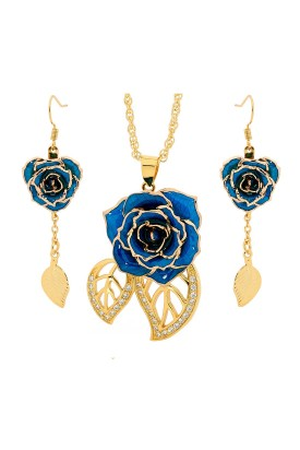 Gold Rose & Blue Leaf Theme Jewellery Set