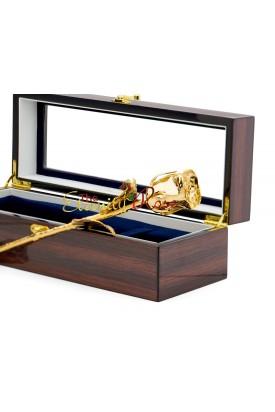 Gold-Dipped Natural Rose. Woodgrain Window Box