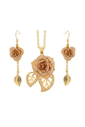 White Matched Set in 24k Gold Leaf Theme. Rose, Pendant & Earrings