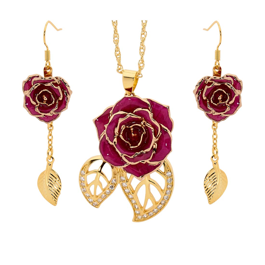 UK Women Filigree Leaf Necklace Earrings Set Chain Pendant Silver Gold Plated