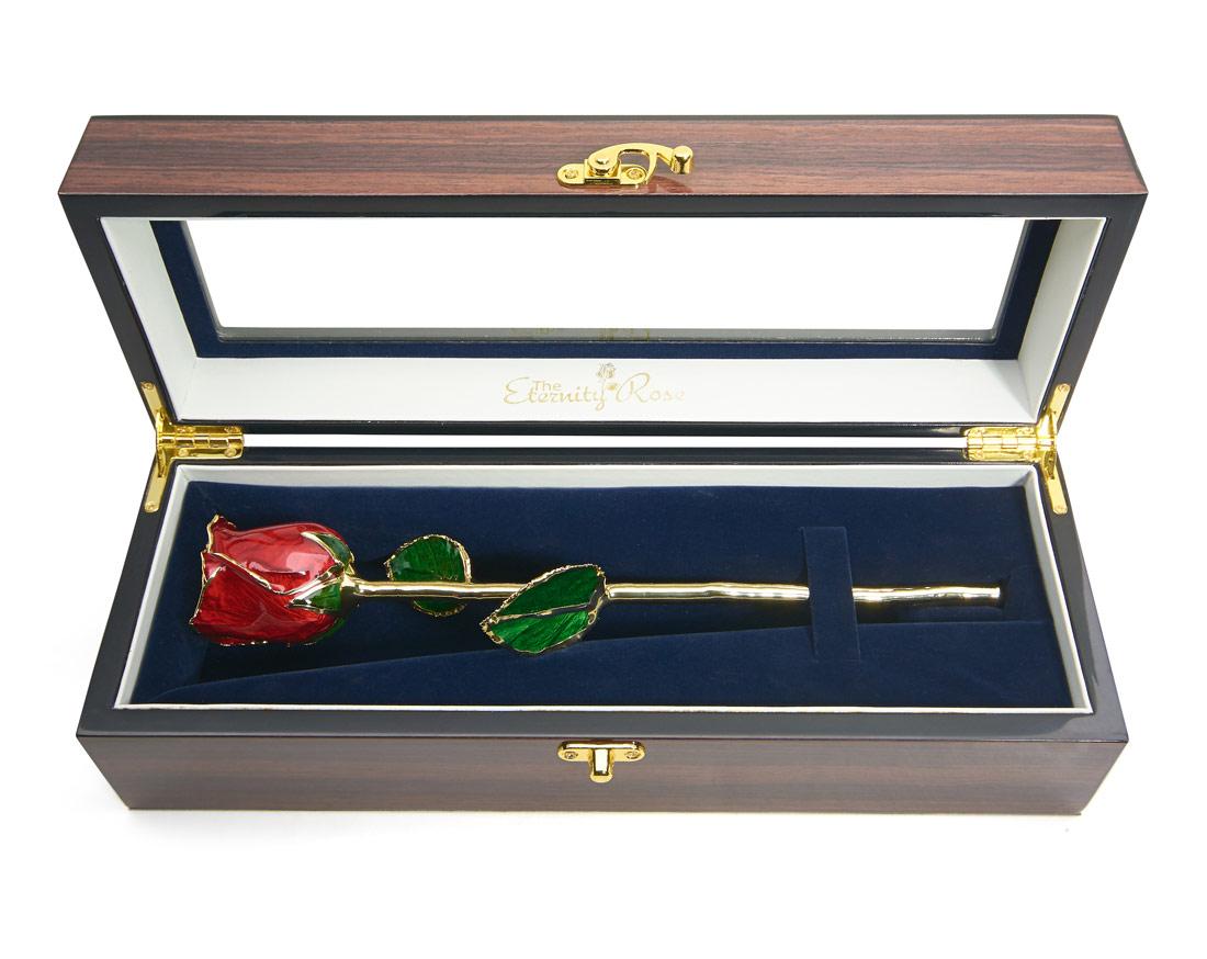 Red Tight Bud Glazed Rose. Woodgrain Window Box