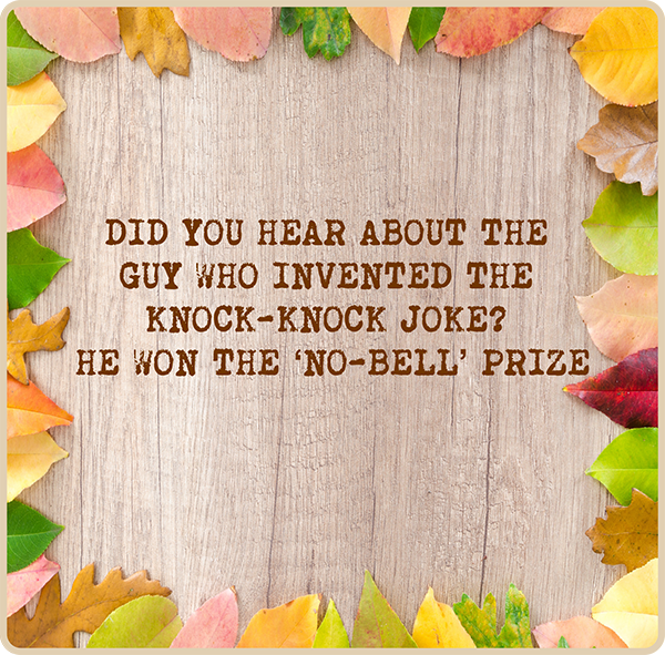Did you hear about the guy who invented the knock-knock joke? He won the 'no-bell' prize.