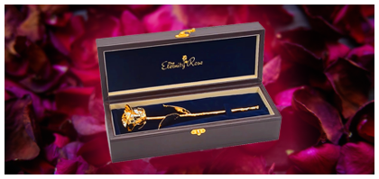Gold rose with leather case
