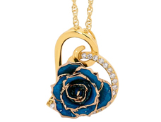 Wedding gift for her glazed rose pendant